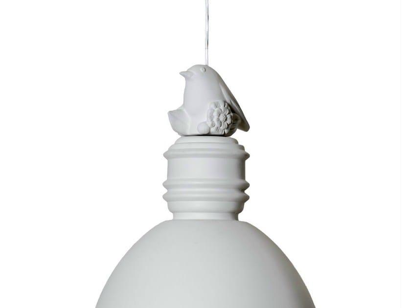 White-paste decoration for pendant lamp, little bird shaped MAIO - Karman