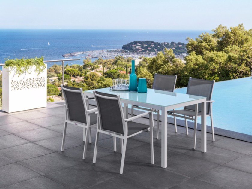Screen printed glass garden table MAIORCA | Table by Talenti