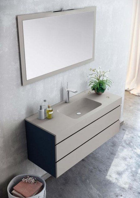 Wall-mounted MDF vanity unit with drawers with mirror MAKING LISO P/28 - Fiora