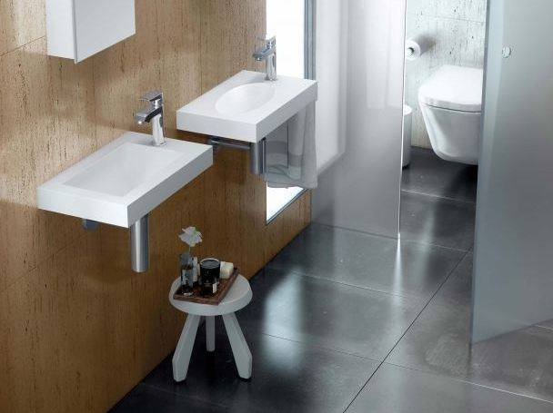 Rectangular single wall-mounted Silexpol® washbasin MAKING MINI - Fiora