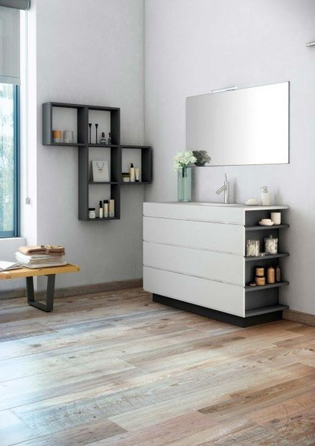 Contemporary style single wood-product vanity unit with drawers with mirror MAKING SLATE P/18 - Fiora