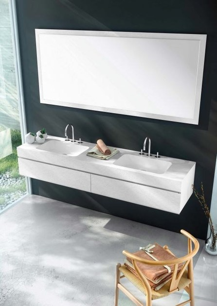 Wall-mounted MDF vanity unit with drawers with mirror MAKING STUCCO P/12 by Fiora