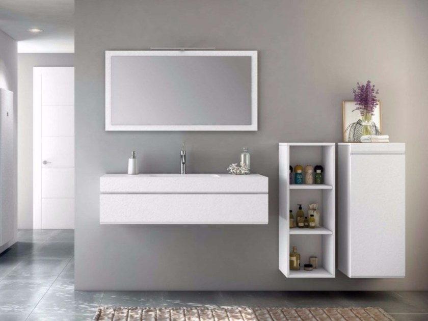 Wall-mounted MDF vanity unit with drawers with mirror MAKING STUCCO P/6 - Fiora