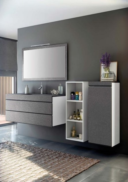 Wall-mounted MDF vanity unit with drawers with mirror MAKING STUCCO P/8 - Fiora