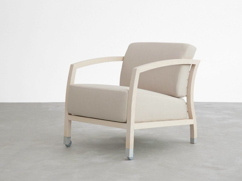 Fabric armchair with armrests MALENA | Armchair - STUA