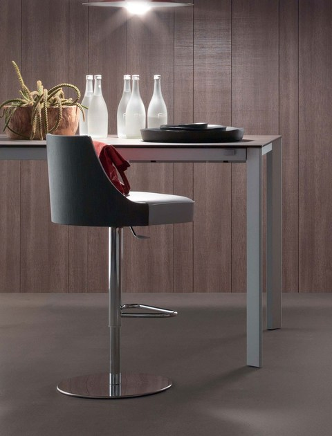 Contemporary style height-adjustable steel barstool with footrest MALIBU | Swivel stool - ITALY DREAM DESIGN - Kallisté