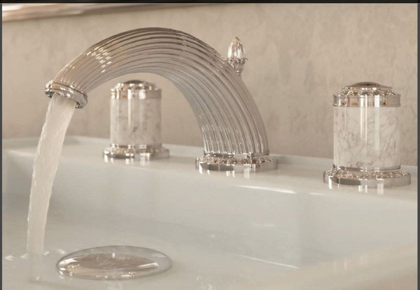 Classic style chrome-plated steel washbasin mixer with individual rosettes MALMAISON | Washbasin mixer - INTERCONTACT