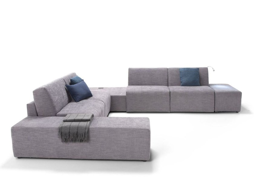 Corner sectional fabric sofa bed with removable cover MAMBO - Dienne Salotti