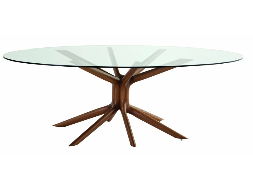 Table manger ovale en verre mangrove by roche bobois for Table de salle a manger roche bobois