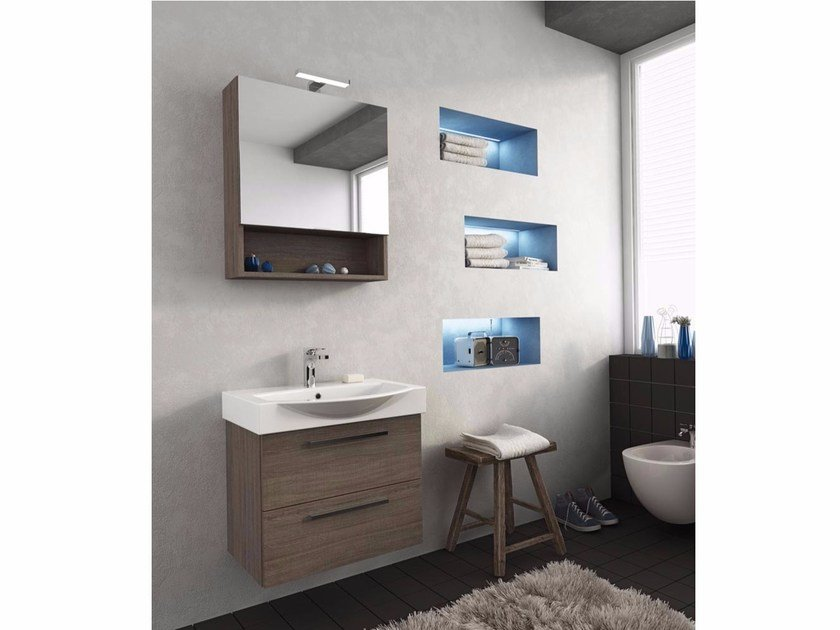 Wall-mounted vanity unit with drawers MANHATTAN M2 - LEGNOBAGNO