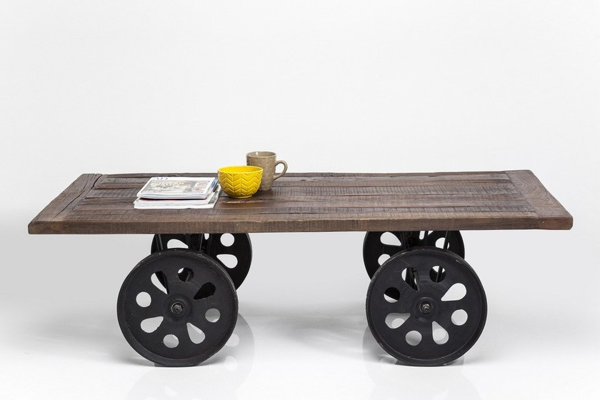 Rectangular steel and wood coffee table with casters MANOR HOUSE | Coffee table by KARE-DESIGN