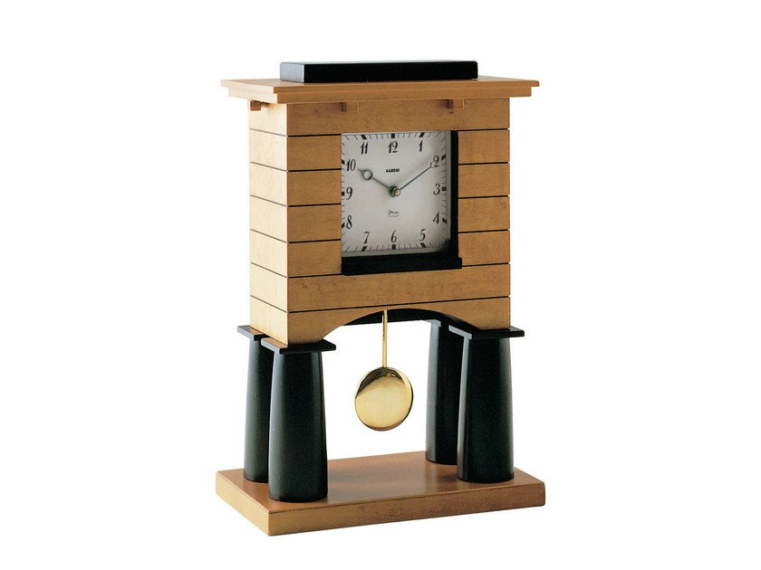 Pendulum table-top wood veneer clock MANTEL CLOCK - ALESSI