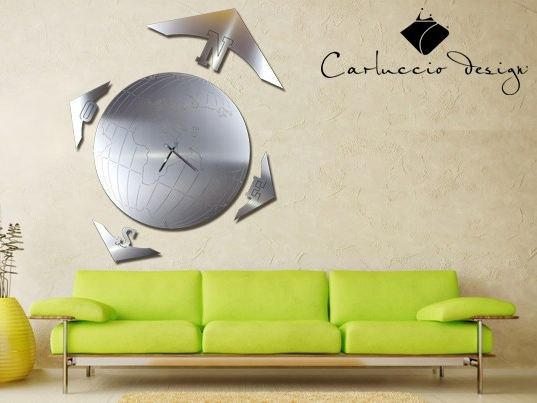 Wall-mounted stainless steel clock MAPPAMONDO XL - Carluccio Design