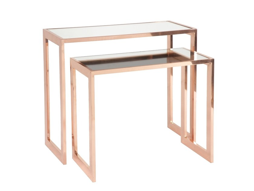 Rectangular Glass and Stainless Steel console table MAR - Branco sobre Branco