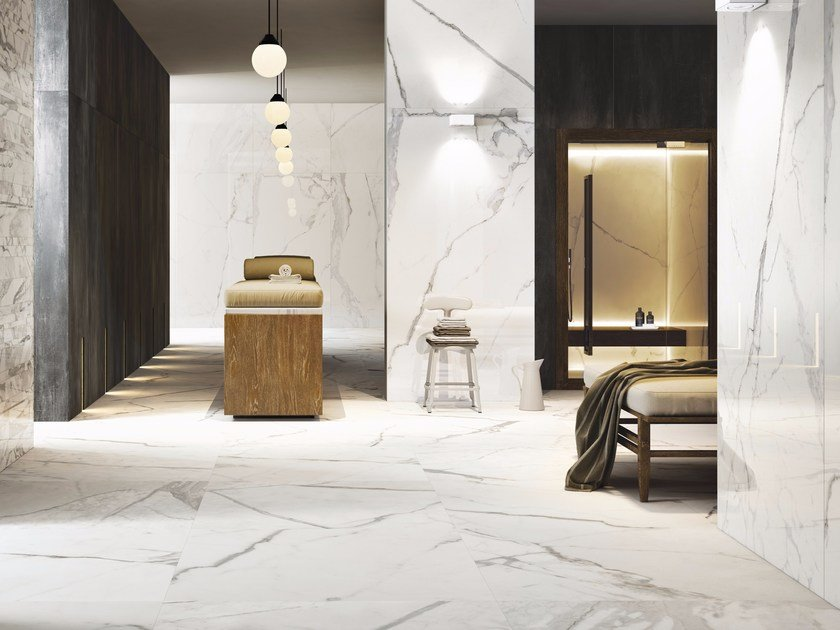 Wall/floor tiles with marble effect MARBLETECH WHITE - CERAMICA FONDOVALLE