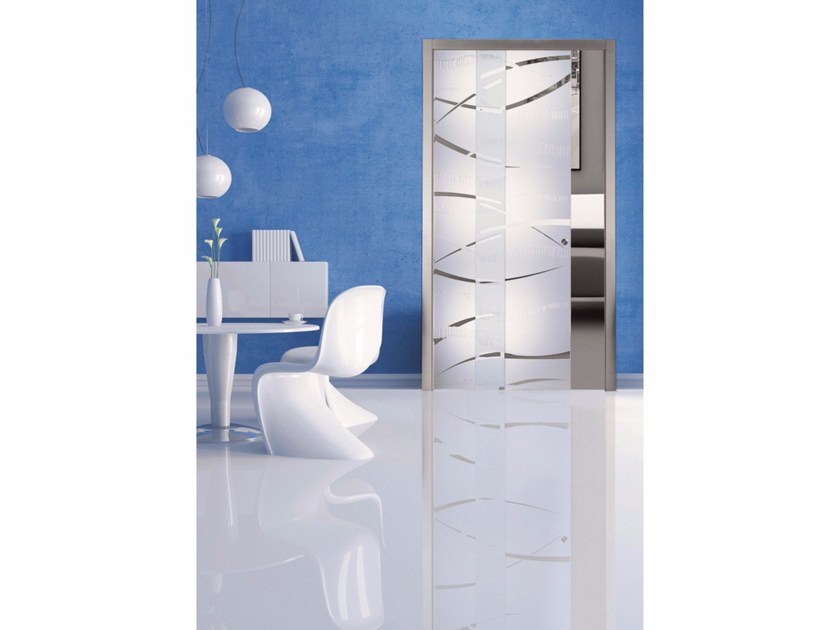 Glass pocket sliding door MAREA - Casali