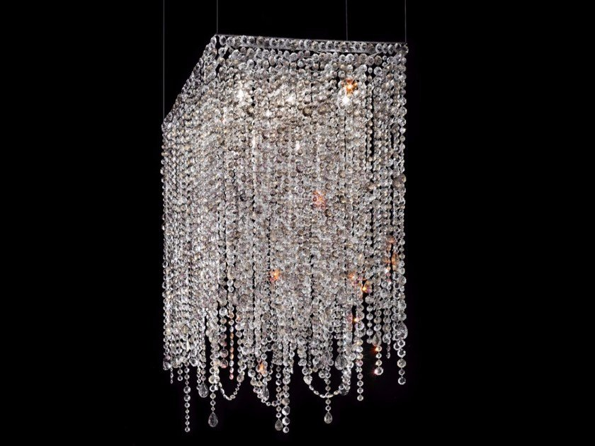 Direct light incandescent painted metal pendant lamp with crystals IMPERO VE 892 | Pendant lamp - Masiero