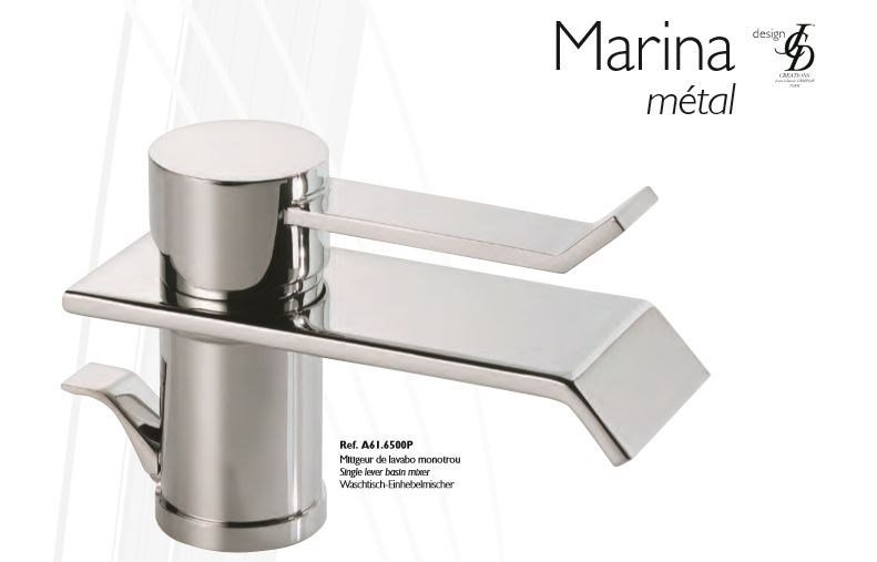 Contemporary style chrome-plated countertop metal washbasin mixer with polished finishing MARINA METAL | Washbasin mixer - INTERCONTACT
