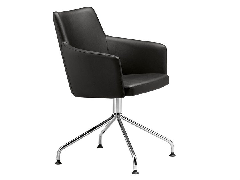 Trestle-based easy chair with armrests Marka 568 - Metalmobil