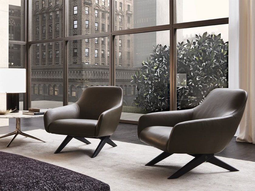 Upholstered leather armchair with armrests MARLON | Leather armchair by poliform
