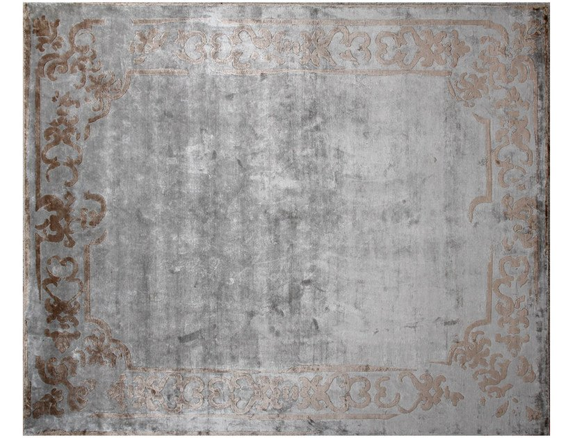 Handmade rectangular custom rug MARQUISE SHADOW SILVER - EDITION BOUGAINVILLE