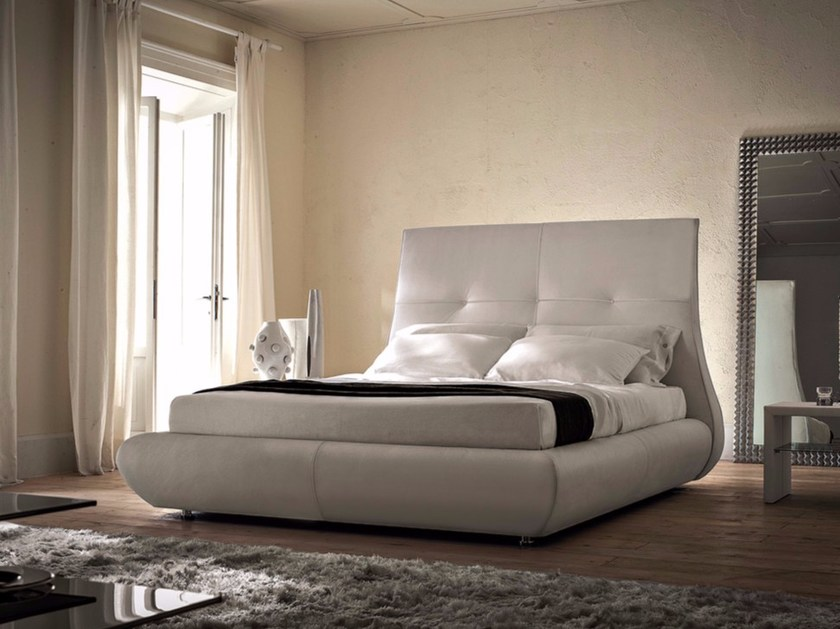 Upholstered double bed with high headboard MATISSE - Cattelan Italia