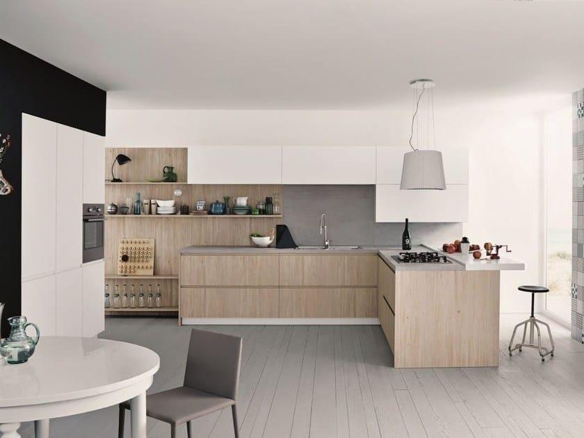 Cucina componibile con penisola in melaminico MAXIMA 2.2 - COMPOSIZIONE 6 by Cesar Arredamenti