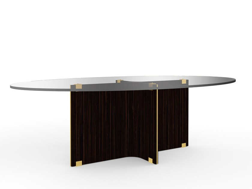 Oval wood and glass dining table MAXIME | Oval table - MARIONI