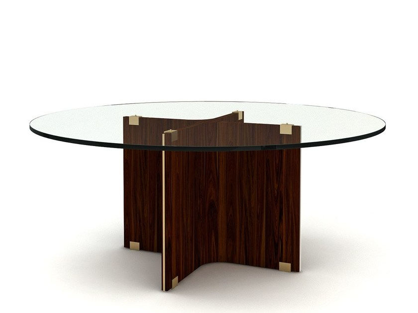 Round wood and glass living room table MAXIME | Round table - MARIONI