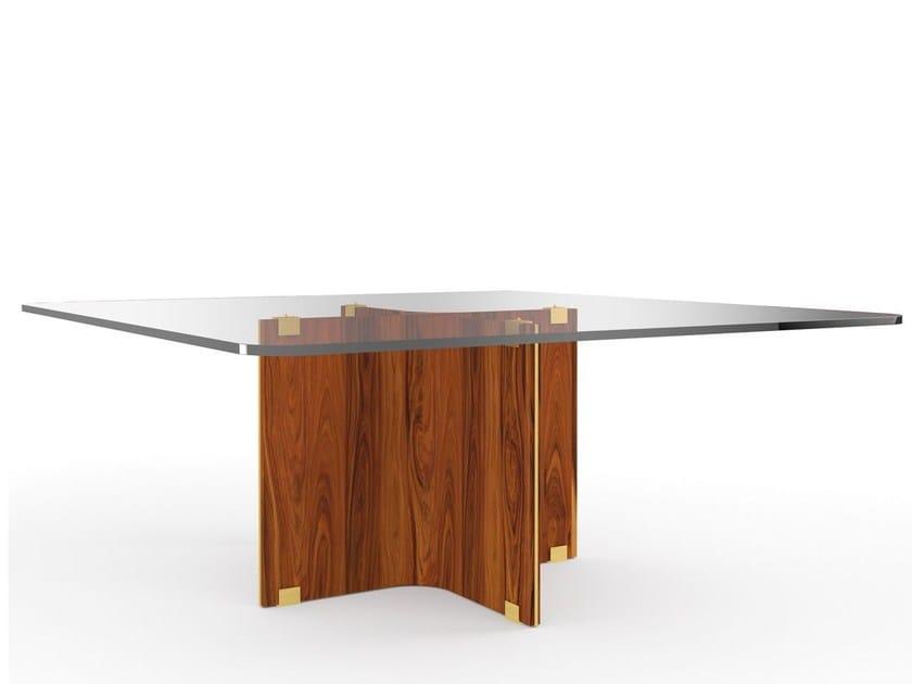 Tavolo da salotto quadrato in legno e vetro MAXIME | Tavolo quadrato by MARIONI
