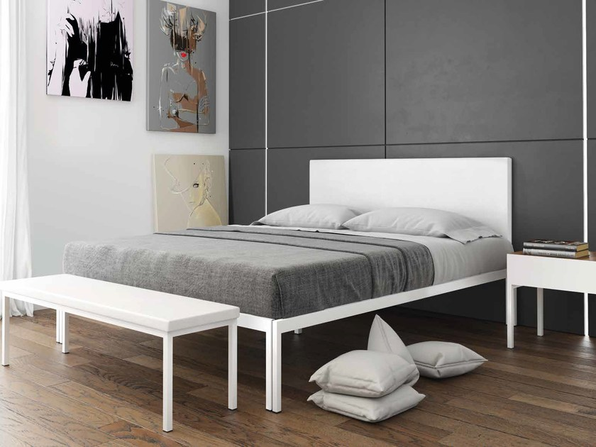 Imitation leather bed with upholstered headboard MAYA | Bed by iCarraro