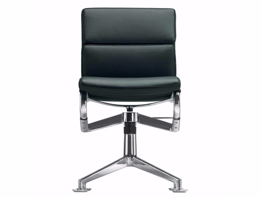Swivel leather task chair MEETINGFRAME+ TILT SOFT - 428 - Alias