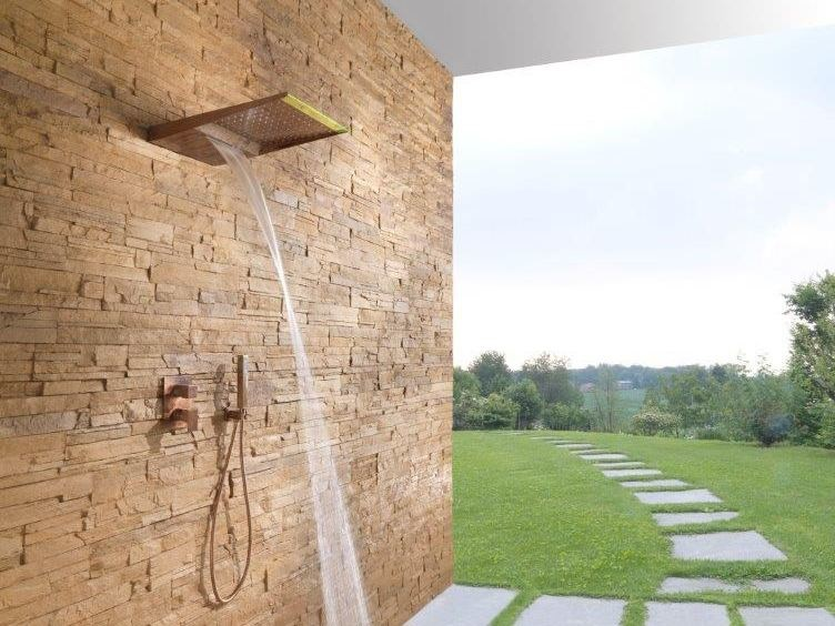Wall-mounted brass waterfall shower with anti-lime system MENHIR | Overhead shower by tender rain