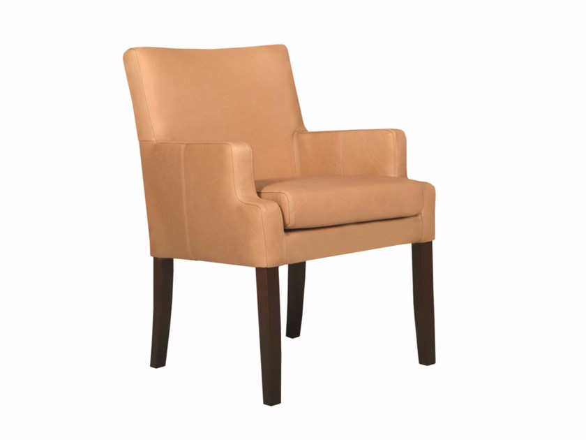 Upholstered leather chair with armrests MERLIN | Leather chair - SITS