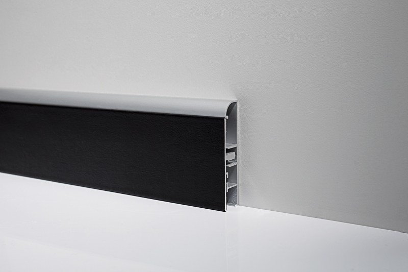 Metal Line 99/B7F in silver anodised aluminium + black real leather foiled aluminium