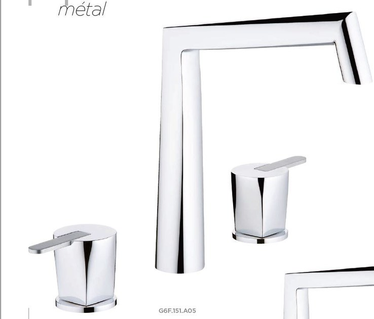 Contemporary style 3 hole metal washbasin mixer with polished finishing with individual rosettes METAMORPHOSE A MANETTE | Washbasin mixer - INTERCONTACT