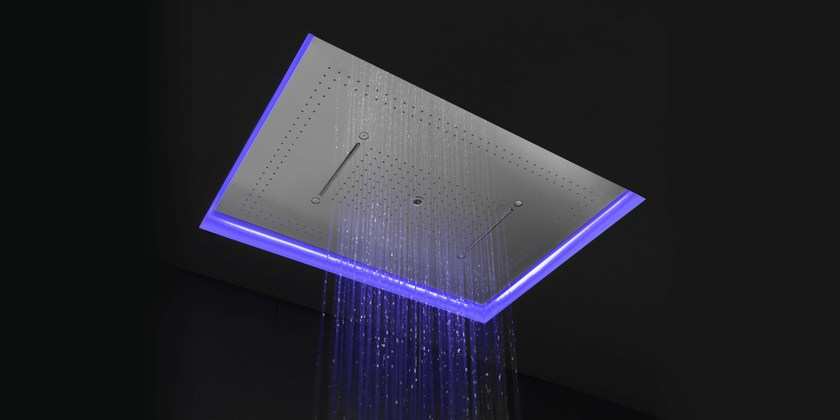 Soffione a cascata a led a soffitto in acciaio inox meteo - Soffione doccia a soffitto ...