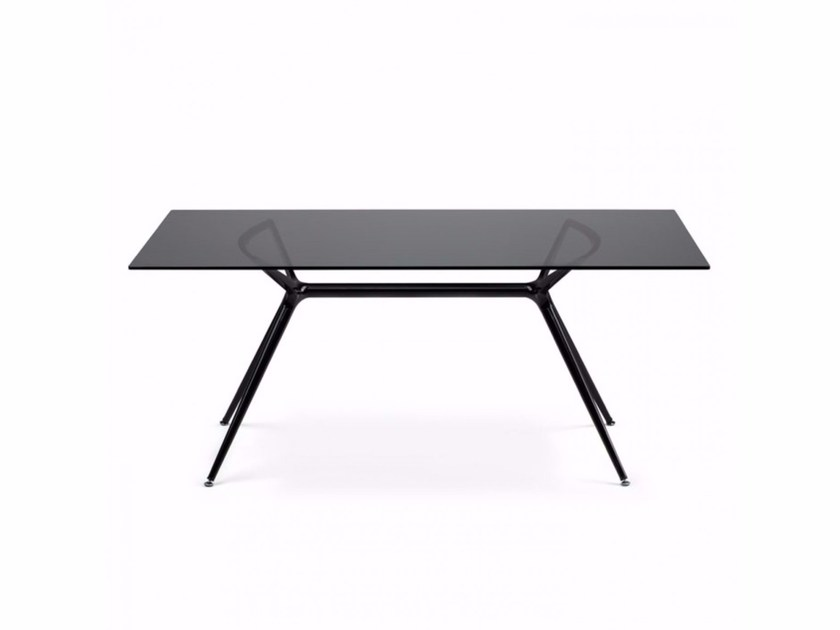 Lacquered tempered glass table METROPOLIS | Rectangular table by SCAB DESIGN