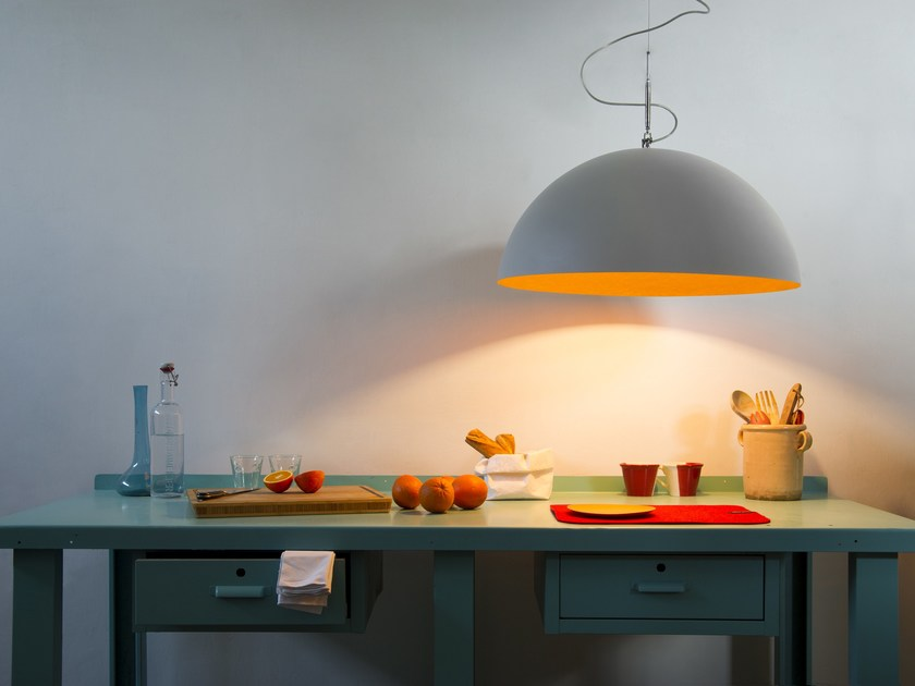 Resin pendant lamp MEZZA LUNA 1 CEMENTO by In-es.artdesign