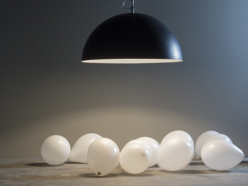 Resin pendant lamp MEZZA LUNA 1 LAVAGNA - In-es.artdesign