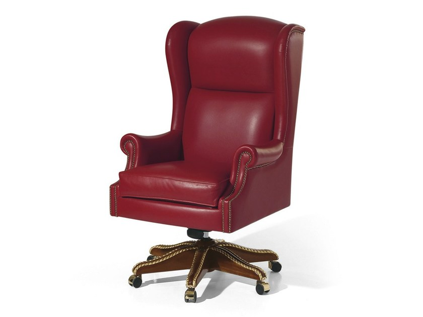 Swivel recliner leather armchair with casters MG 1039 - OAK Industria Arredamenti