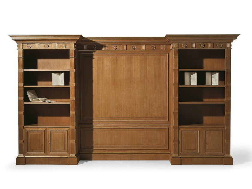 Open oak bookcase MG 1090/ROV - OAK Industria Arredamenti