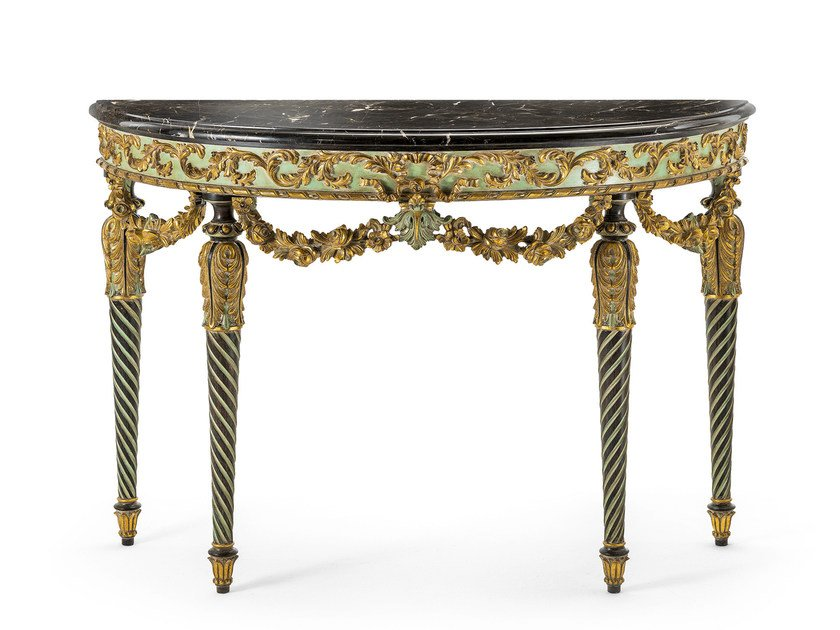 Classic style demilune marble console table MG 5270 by OAK
