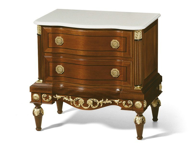 Neoclassical style mahogany bedside table with drawers MG 6306/1 - OAK Industria Arredamenti