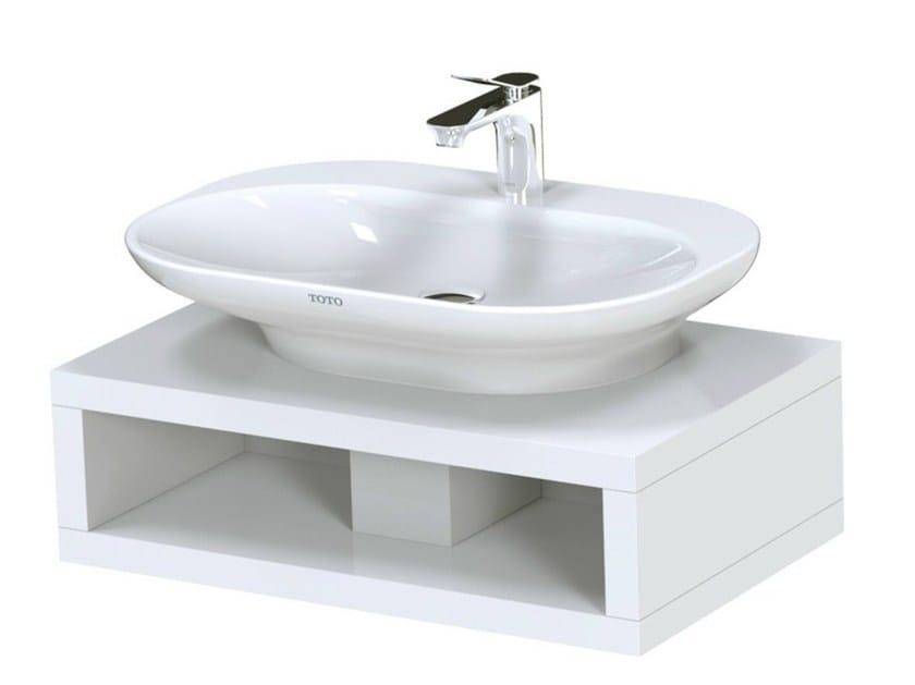 Single English oak washbasin countertop MH | Single washbasin countertop - TOTO