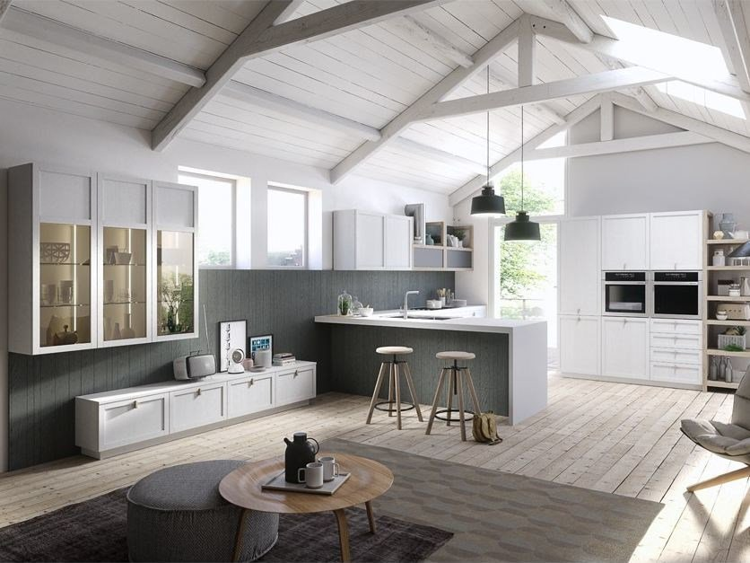 Lacquered kitchen with handles MIA - DIBIESSE