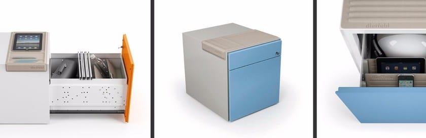 Cassettiera Bicolore Ufficio Mia Ped : Cassettiera ufficio in metallo con ruote mia ped dieffebi