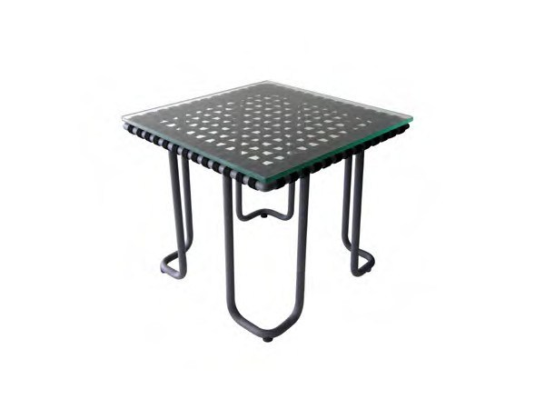 Glass and Stainless Steel garden side table MIAMI | Side table - Sérénité Luxury Monaco