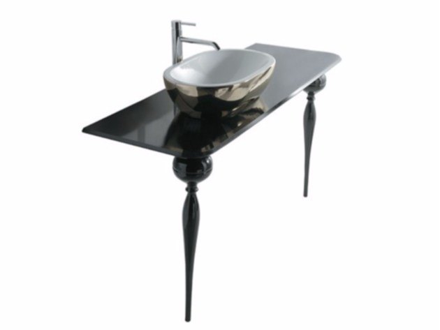 Lacquered glass console sink MIDAS 90   Console sink - GALASSIA