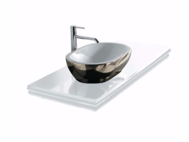Single glass washbasin countertop MIDAS | Single washbasin countertop - GALASSIA